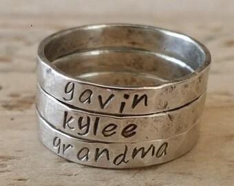 Name stacking rings, name rings, handstamped rings, personalized rings, message ring, personalized stacking rings, memory rings,