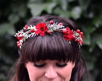 Red Flower Crown- Winter Wedding Headpiece- Valentine's Day Crown-  Red Berry Headband- Bridal Crown- Red Bridesmaids Headpiece- Headband
