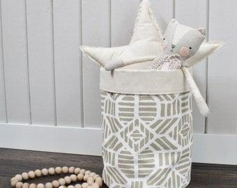 STORAGE BIN Gold Geo Large Storage Bin Storage Basket Toy Organizer Fabric Bucket