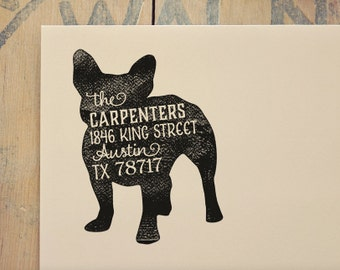 Dog Return Address Stamp - Custom Dog Breed Rubber Stamp - Personalized Pet Address Stamp - French Bulldog - More Breeds Available