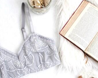 Modern Grey 'Vapor' Sheer Lace Comfortable Wire Free Bra Handmade to ORder