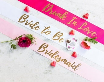 Custom Hens Party Sashes With Pin Included Gold