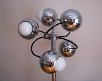 1970's SPUTNIK Chrome 5 BALL Table LAMP 3 Intensities Space Age Atomic Superb!