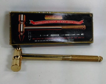 Solid Brass Hammer Paper Weight Combo/Desk Accessory: Hammer with 4 Screwdrivers included in The Handled/Made in Taiwan (E)