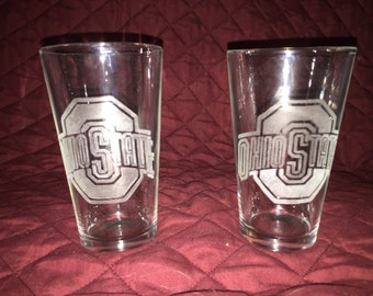 2 Hand Etched Ohio State Pint Glasses!