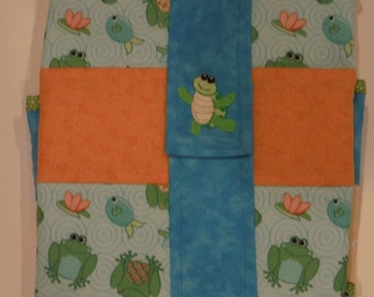 Turtles and Frogs quilted Pack 'n Go Diapering  Pad