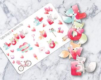 Valentine's Day Deco / Planner Stickers / Scrapbook /  Fits Erin Condren Vertical & MAMBI / Kikki K / FiloFax