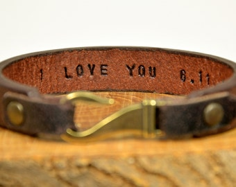 For Men's Bracelet Hidden Message Bracelet Mens Gift For Husband Hook Bracelet Mens Bracelet Hand Stamped Bracelet For Mens Leather Bracelet