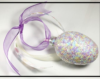 Easter Egg Ornaments, Easter Ornaments, Easter Decoration, Easter Decor, Easter Egg Tree, Hand Painted Ornament, Glitter Glass Ornaments