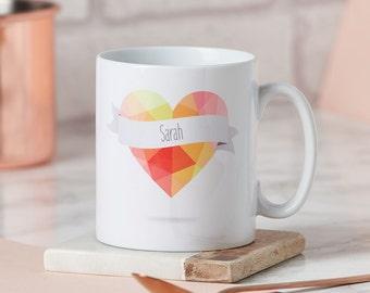 Geometric Heart Personalised Mug-Personalised mug for him-Personalised mug for her-Personalised heart mug