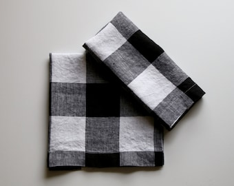 Linen Napkins Black and White Check (Set of 6)