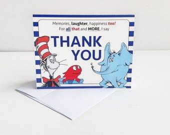 Dr. Seuss Thank You Card / Dr Seuss Baby Shower Thank You Cards / Dr Seuss Birthday Party Thank You Cards / Dr. Seuss Card