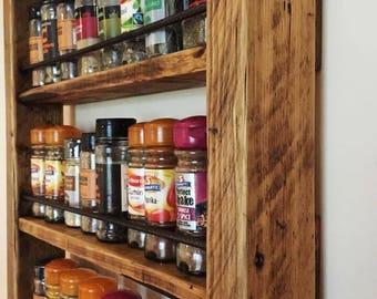 Rustic Spice Rack - Reclaimed Wood - Kitchen Storage - Wood Spice Rack - Handmade - 4 Shelf Reclaimed Wood Spice Rack with Steel Rebar
