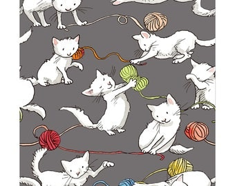 Fat Quarter Knittens Kitten Gray By Clothworks, Quilting Cotton Fabric, Cat Lady, Cat Lover, Pet Lover, Cat And Yarn