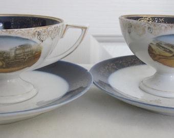 Antique FALMOUTH CORNWALL Marine Drive. Transfer Souvenir Crested ware Tea cups.