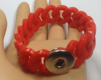 RED SILICONE STRETCH Snap Bracelet...fits 18-20mm snap buttons