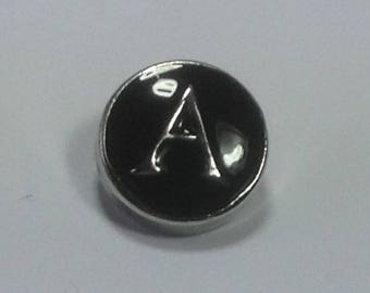 12mm INITIAL SNAPS..BLACK with silver lettering...fits 12mm snap jewelry...