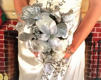 White cascade bouquet, Silver white wedding flowers, winter bridal, winter wedding poinsettia bouquet, ready to ship