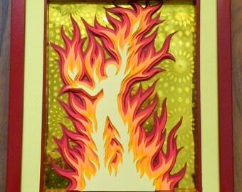 3D Paper Sculpture Fire Elemental