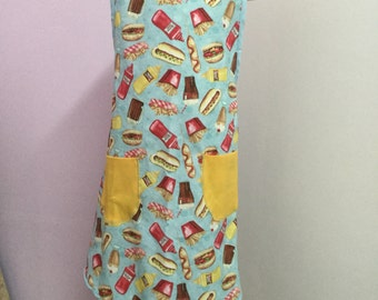 FRIES WITH THAT?, vintage style and fit womens apron, handmade
