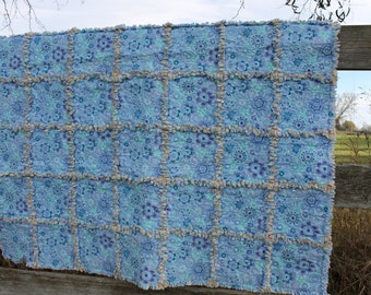 Blue Floral Throw Size Rag Quilt