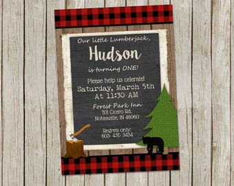 Lumberjack First Birthday Invitation buffalo plaid 5x7