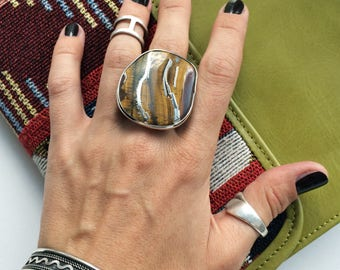 Big ring tiger eye, square stone, ring with big stone, brown stone ring, natural stone tiger eye, gift for women, boho ring, unique ring