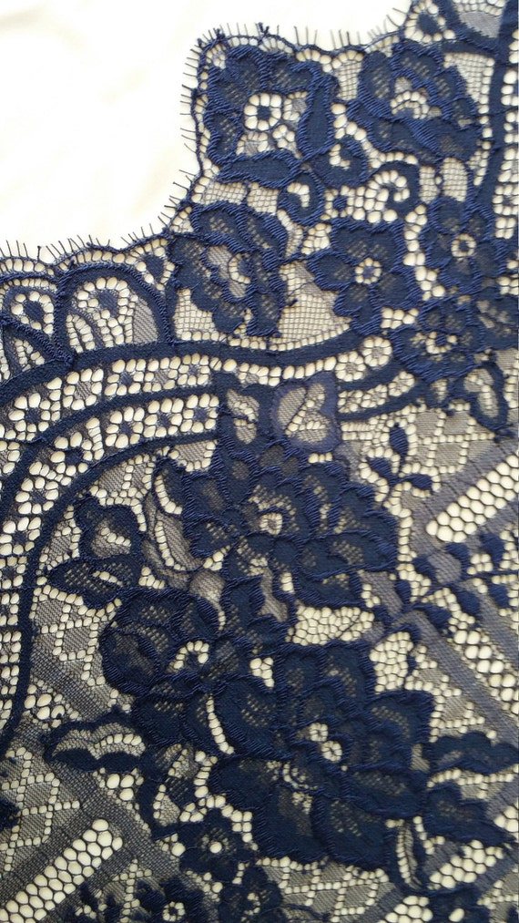 Blue Lace Fabric, French Lace, Embroidered lace, Wedding Lace, Bridal lace, Veil lace, Lingerie Lace Chantilly Lace