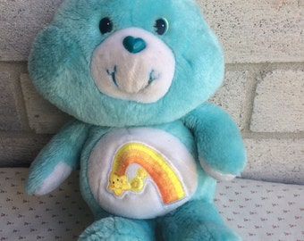 Vintage Wish Bear, WishBear, Blue Carebear, 80s Care bear