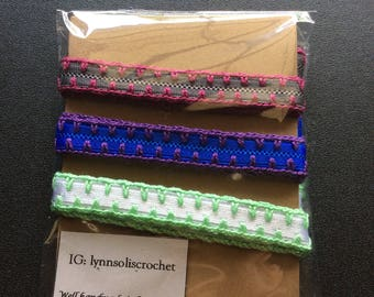 Set of 3 Crochet elastic headbands