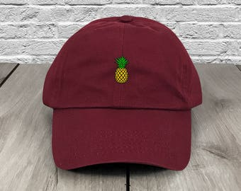 Pineapple Dad Hat Maroon Low Profile Unstructured Baseball Cap Embroidered Dad Hats Baseball Hat Champagne Papi Strapback