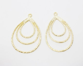 P0483/anti-Tarnished Matte Gold Plating Over Pewter/Three Drops Pendant/24x36mm/4pcs