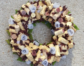 "Grey and Deep Red Wine Cork Wreath 12-14"""