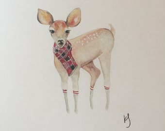 Watercolour Winter Deer