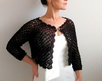 Black bolero shrug, lacy bolero, wedding bolero, knitted bolero, S-M, short cardigan, 3/4 sleeve bolero, fast shipping, READY TO SHİP