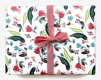 Winter Bouquet Gift Wrap Sheet in White // Wrapping Paper, pink, red, horses, whimsical, Holidays, floral, botanical