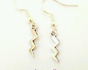 Lightening earrings, lightening bolt earrings, lightening strike earrings, zigzag earrings, storm earrings, thunderbolt earrings