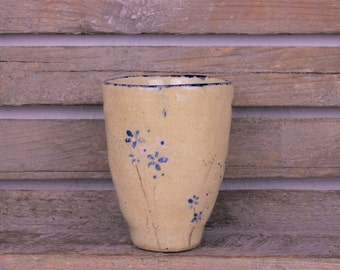 Cup floral design - ceramic mug - ceramic mug blue flowers - blue and pink flowers - rustic mug - production order