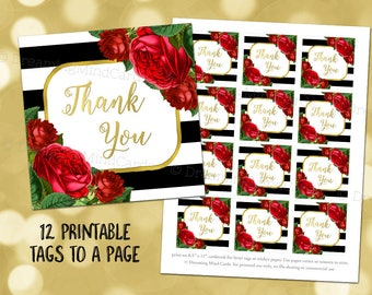 Printable Thank You Favor Tags Black Stripes Gold Red Watercolor Floral for Wedding, Baby Shower, Bridal Shower Instant Digital Download