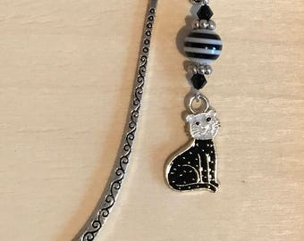 Black and White Cat Enamel Bookmark