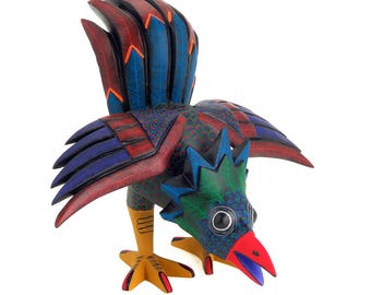 ROOSTER Oaxacan Alebrije Wood Carving Folk Art Sculpture Painting by Damian & Beatriz Morales