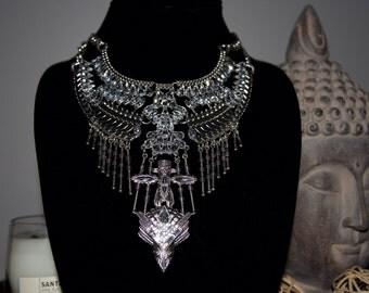 Statement Necklace, Trendy Necklace, Rhinestone Necklace, Chunky Necklace, Bib Necklace, Evening Necklace, Bohemian Necklace