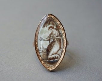 Antique Sepia Painting Gold Ring / Georgian Navette Mourning Ring in 14K Yellow Gold