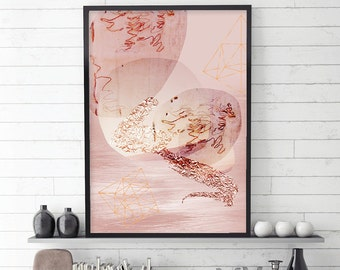 Blush and Rose Gold Abstract, Blush and Rose Gold, Abstract Art, Scandi Abstract, Scandinavian Abstract Art, Abstract Scandi, Downloadable