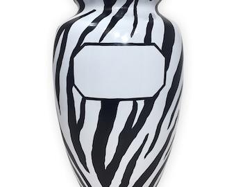 Zebra Print Cremation Urn, Zebra Cremation Urn