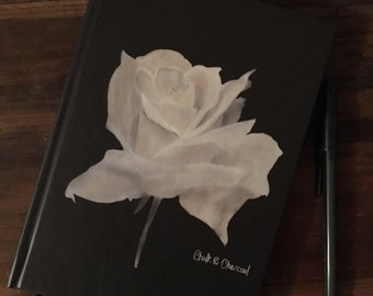 Chalk & Charcoal White Rose Hardcover Journal
