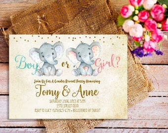 gender reveal Invitation, elephant gender reveal Invitation, forest gender reveal Invite, vintage gender reveal Invite, baby elephant