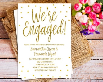 Rustic Gold Engagement Party Invitation, Engagement party printable invite, confetti engagement invitation, we're engaged, bridesmaid invite