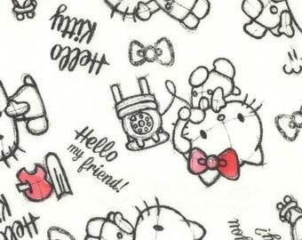 Kokka Sanrio Hello Kitty Rough Sketch Double Gauze | 8034-001-D White | By the yard