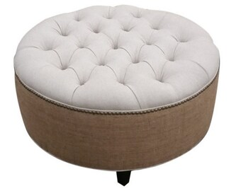 """30"""" Upholstered. Tufted. Linen and Burlap. Round Ottoman- Pouf- Coffee Table Ottoman~ Design 59"""